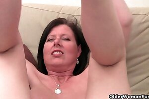 Old woman with big tits and hairy pussy masturbates