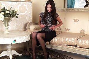Gorgeous petite milf in stockings
