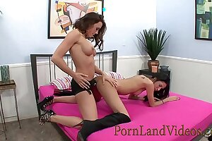 hot brunettes lesbians Aries Stone and  Chanel Preston fucking with strapon