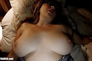 Sleeping Booty's Big Tits: Waking up Wifey for a Midnight Fuck, Suck & Swallow. Hot Mom Britney lets her natural udders swing and bounce as she takes another cumshot right in the mouth.