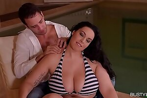 Busty Anastasia Lux unleashes those Monster tits by the Pool