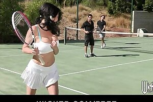 Busty cougar is picked up at the tennis club and double teamed