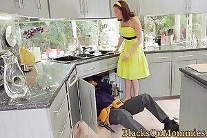 Busty housewife sucks bbc while pussyfucking
