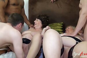 AgedLovE Two Chubby British Blonde And Three Dicks