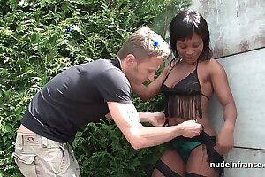 Young black slut anal fucked hard outdoor with her sexy lingerie